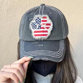 DARK GREY PAW PRINT AMERICAN FLAG HAT