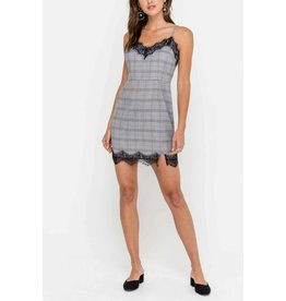 Plaid Dress With LAce Trim