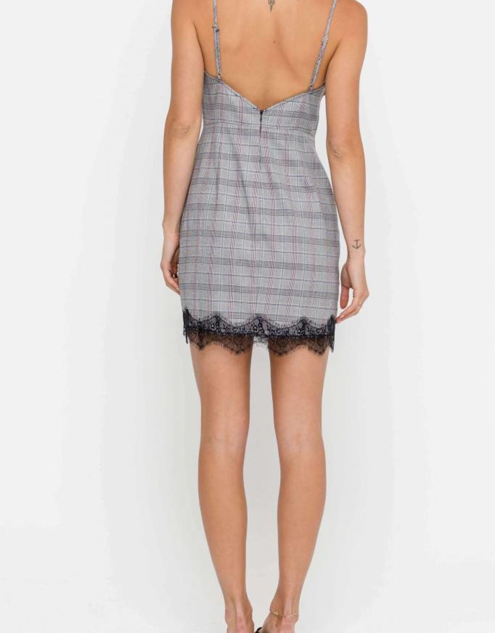 Plaid Dress With LAce Trim
