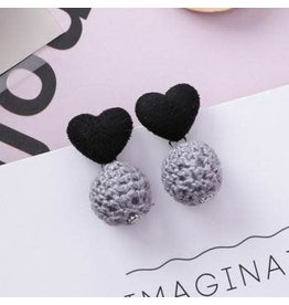KOKO & LOLA Black Love Heart Grey Crochet Ball Earrings