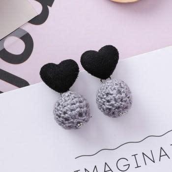 KOKO & LOLA Black Love Heart Grey Crochet Ball Earrings