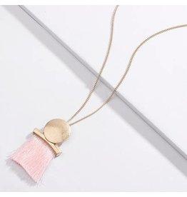 KOKO & LOLA Pink Gold Circle Geo Tassel Necklace
