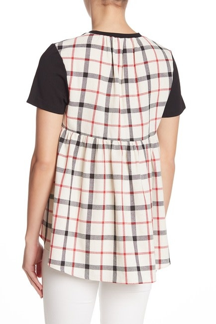 English Factory Knit Combo Plaid Blouse