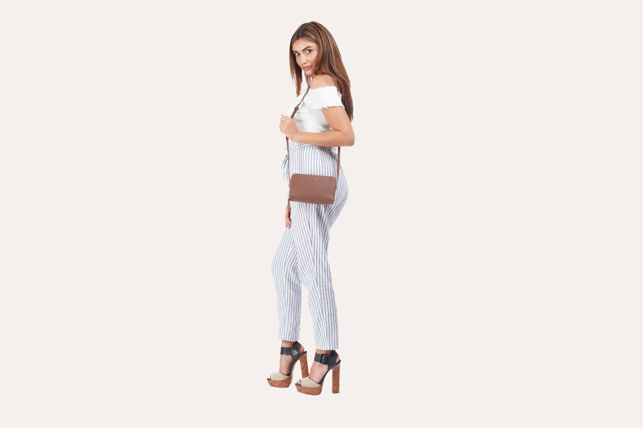 Kiko Leather Brown -Zip Around Crossbody Pebble
