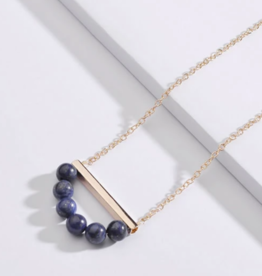 KOKO & LOLA Blue Semi Precious Beaded Necklace Gold Accent Bar