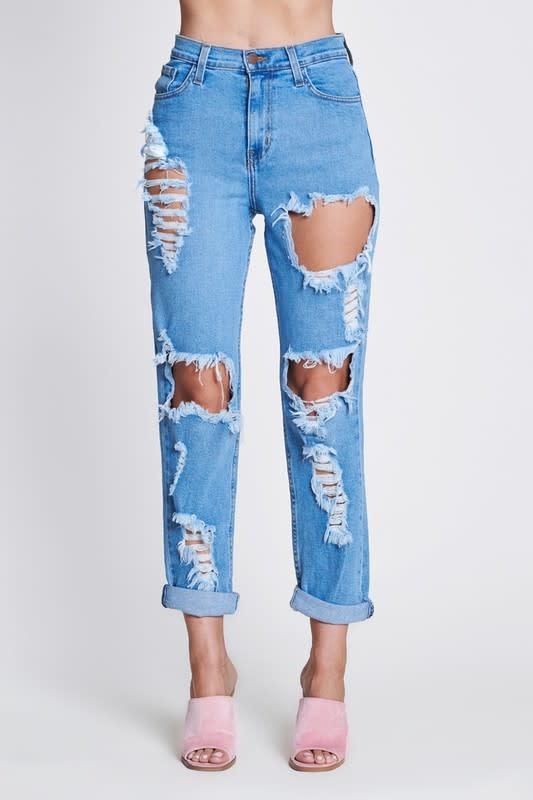 Vibrant M.i.U Vibrant Classic Distressed Mom Jeans