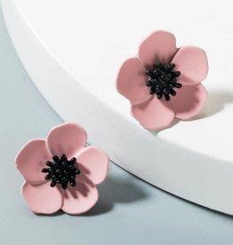 KOKO & LOLA Pink Daisy with Black Center Earrings