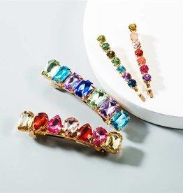 KOKO & LOLA Multi Color Crystal Hair Clip Set