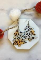 Pretty Simple Christmas Tree Leather Leopard print Earrings