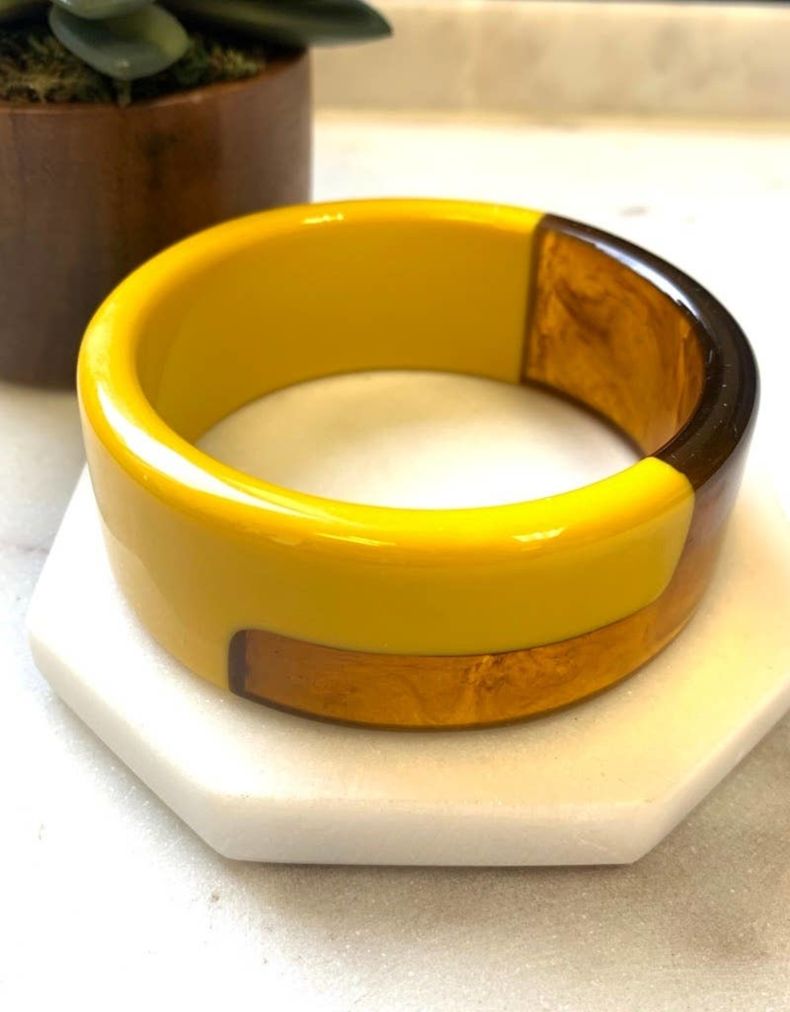 Pretty Simple Mustard Tortoise Shell Bangle - thick