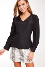 Satin Flared V Neck Top