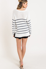 Lush Clothing Stripe Crew Neck Knit Sweater