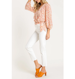 Lush Clothing CORAL RUFFLE WRAP TOP