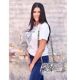 Varsity clear crossbody bag- Ivory Leopard