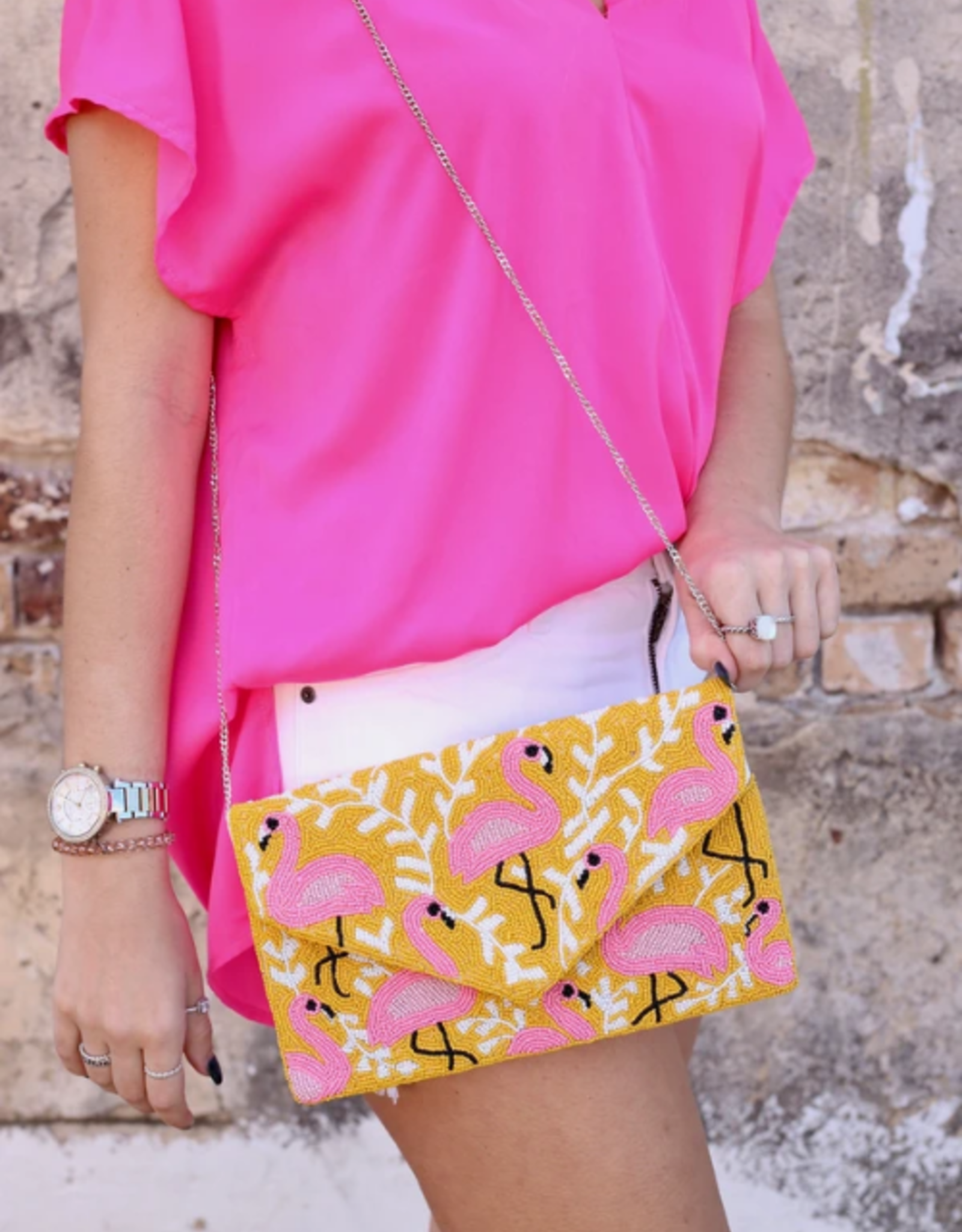 Beaded flamingo foldover clutch yellow