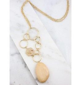Polk long necklace with wooden pendant natural