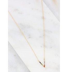 Crenshaw small v stone necklace multi
