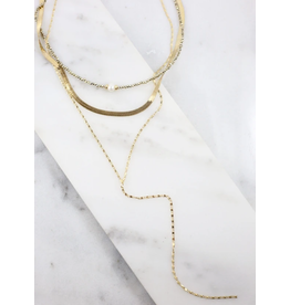 Lila triple layer beaded and herringbone chain necklace gold