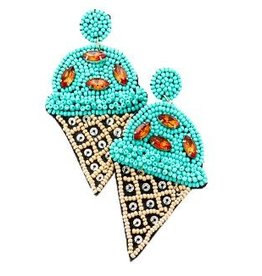 Ice Cream Cone Earrings-Blue