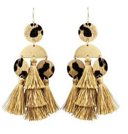 Leopard Tassel Earrings -Brown