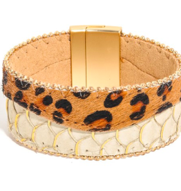 Leopard and Snake Cuff Bracelet