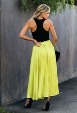 Promesa End Of The Night Pleated Satin Maxi Skirt