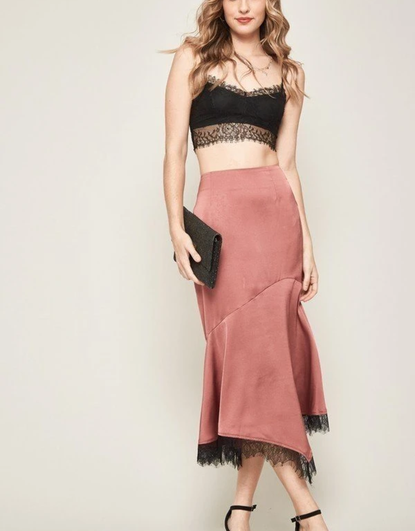 Promesa Fancy That Lace-Trimmed Satin Mermaid Skirt