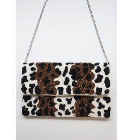 Courtland dual tone leopard seed bead crossbody leopard