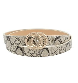 Coveted Clothing Double Ring Belt-Grey Snake