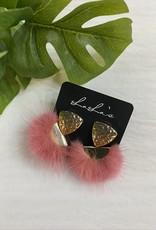Pom Pom with Gold Earrings