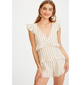 Licticle Clothing STRIPE V-NECK RUFFLE ROMPER