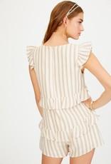 Licticle Clothing STRIPE V-NECK RUFFLE ROMPER