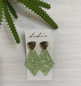 Gold & Glitter Diamond Shape Earrings