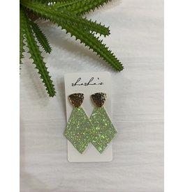 Gold & Glitter Diamond Shape Earrings