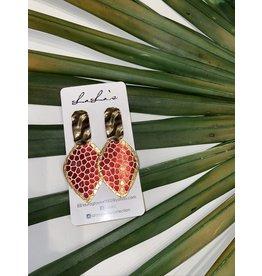 LaLa's Red Cobblestone Earrings