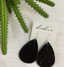 Black Teardrop Glitter Earrings