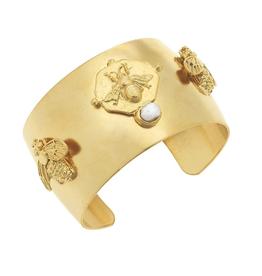 Susan Shaw Bee + Pearl Cuff Bracelet