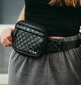 Pretty Simple Black Quilted 3 Sisters Waist Bag