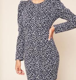 SugarLips Samantha Leopard Puff Sleeve Bodycon Dress