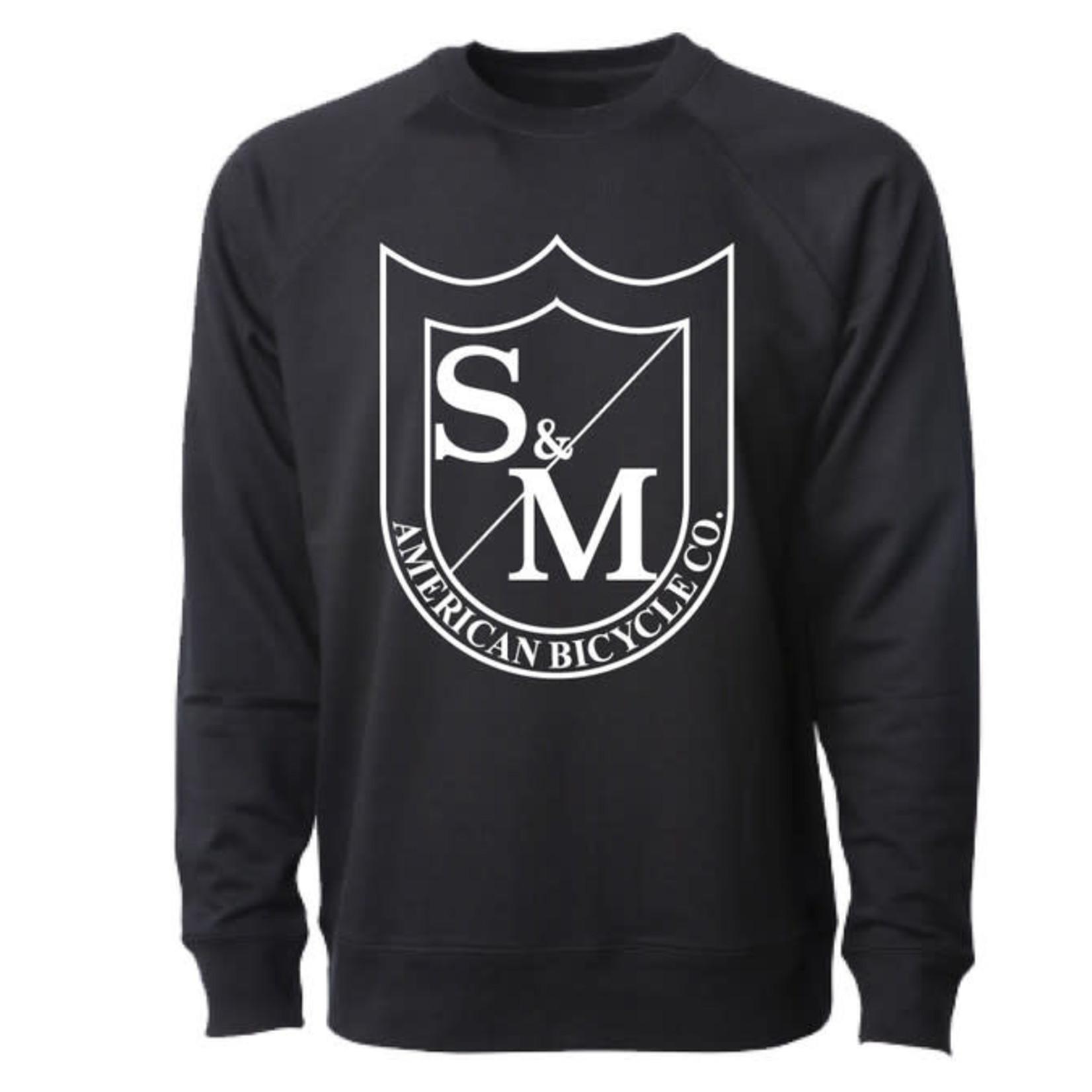 S&M BIG SHIELD CREW NECK SWEATSHIRT - BLACK