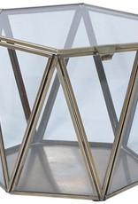 ANTIQUE BRASS  & GLASS BOX