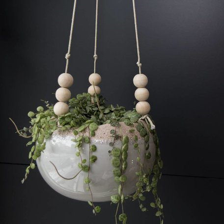 BLOOMINGVILLE STONEWARE HANGING FLOWER POT