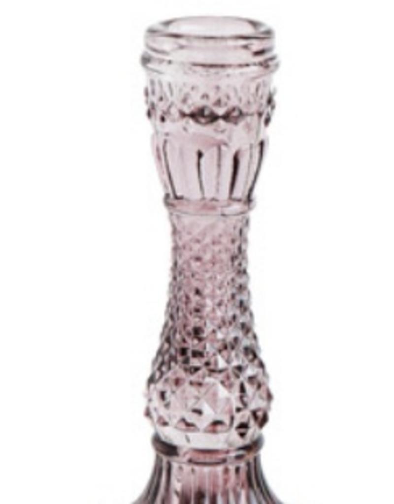 PINK GLASS TAPPER HOLDER