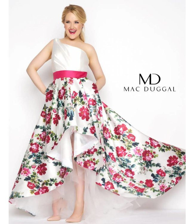 Mac Duggal 65973 Robe fleurie et courte à l'avant
