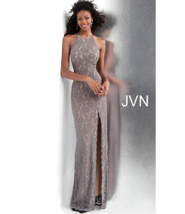 Jovani 61347 Robe ajustée à col bijou en dentelle