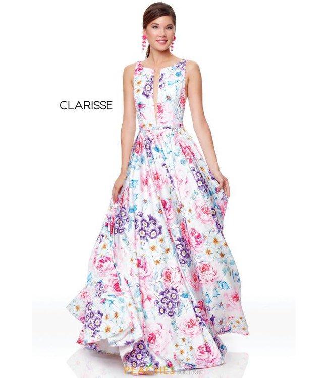 Clarisse 3874 Robe en A  motifs de fleurs