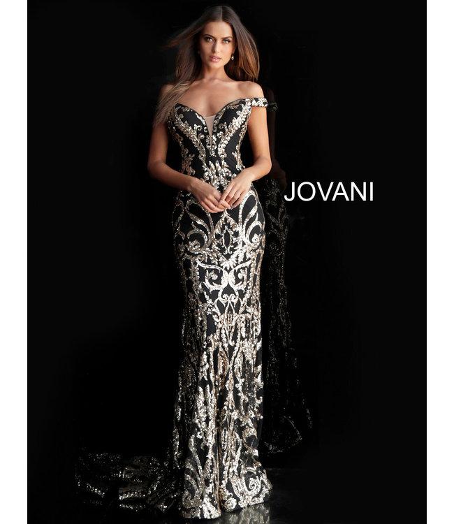 Jovani 63350 Robe ajustée à motif doré et épaules dénudées