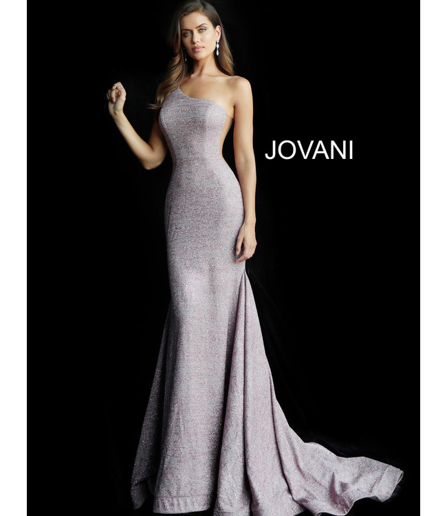 Jovani 67650 Robe ajustée à décolleté asymétrique