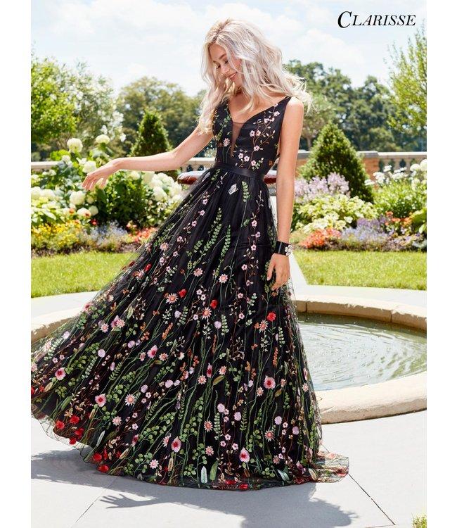 Clarisse 3565 Robe en A avec fleurs brodées