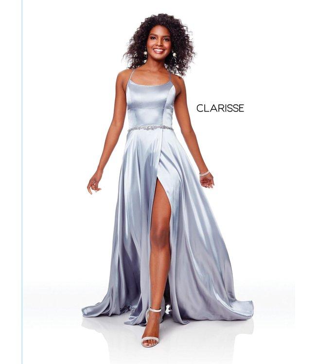 Clarisse 3712 Robe coupe en A satinée